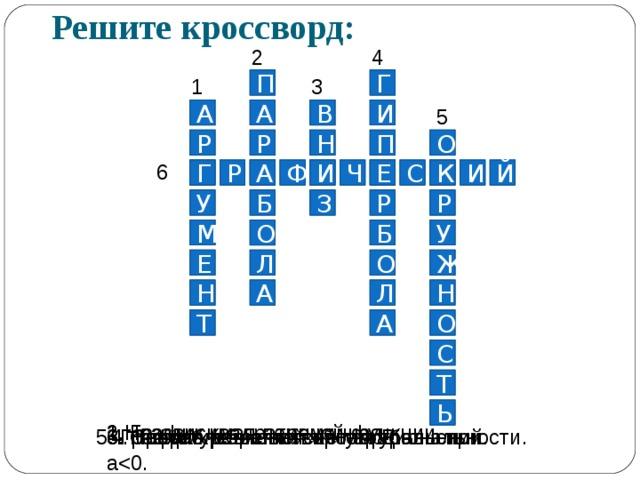 Решите кроссворд: 4 2 Г 3 1 П А И В А 5 П Р Н О Р 6 К Г И И А Е Е С А К Г Р Й Ф И Ч Р Р Б З У У Б М О Ж Л О Е Н Н А Л О А Т С Т Ь 1.Независимая переменная. 2. График квадратичной функции. 3. Направление ветвей параболы при а 4. График обратной пропорциональности. 5. График уравнения: х 2 +у 2 = R . 6. Способ решения систем уравнений.