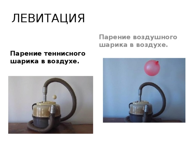 ЛЕВИТАЦИЯ Парение воздушного шарика в воздухе.  Парение теннисного шарика в воздухе.