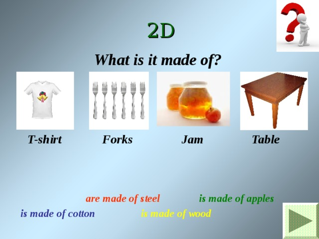 2D What is it made of? T-shirt Forks Jam Table is made of apples are made of steel is made of cotton is made of wood