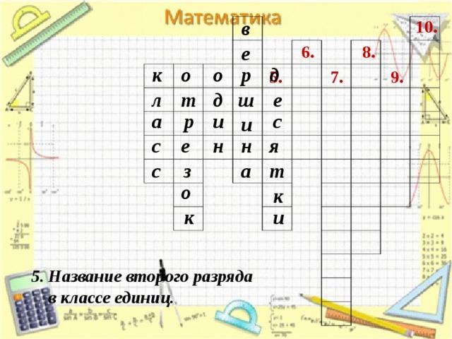 10. в 8. е 6. д к р о о 7. 5. 9. е ш д т л с р и а и е н с н я з с а т о к к и 5. Название второго разряда  в классе единиц.