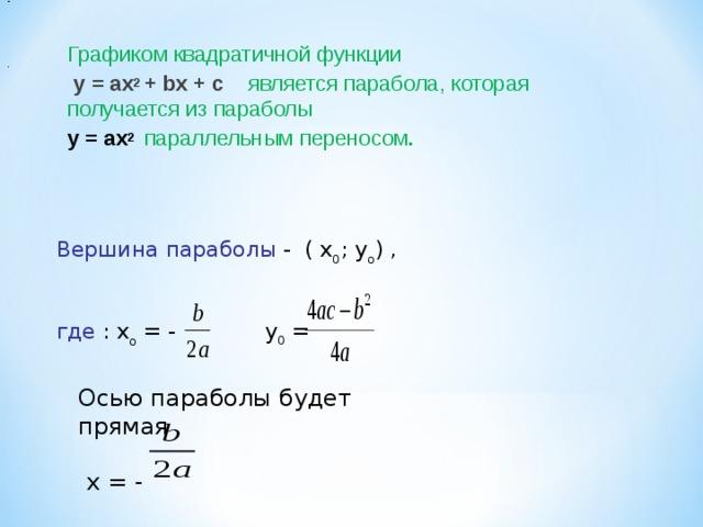 - Графиком квадратичной функции  у = ах 2 + b х + с  является парабола , которая получается из параболы у = ах 2  параллельным переносом . .  Вершина параболы - ( х 0 ; у о ) , где : х о = - у 0 = Осью параболы будет прямая  х = - 5