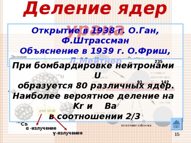 Деление ядер урана Открытие в 1938 г. О.Ган, Ф.Штрассман Объяснение в 1939 г. О.Фриш, Л.Мейтнер 235 При бомбардировке нейтронами U  образуется 80 различных ядер. Наиболее вероятное деление на Kr и   Ba в соотношении 2/3 91 142 Деление происходит под действием кулоновских сил 94 Rb α  -излучение γ -излучение