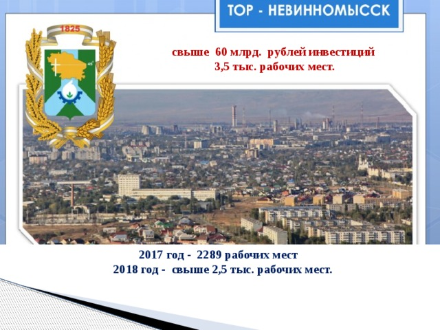 свыше 60 млрд. рублей инвестиций  3,5 тыс. рабочих мест. 2017 год - 2289 рабочих мест  2018 год - свыше 2,5 тыс. рабочих мест.