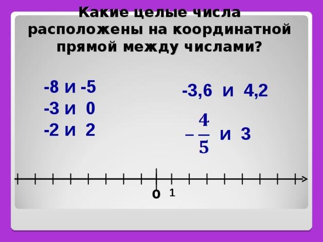 Какие целые числа расположены на координатной прямой между числами?   -8 и -5 -3 и 0 -2 и 2  -3,6 и 4,2   и 3   1 0