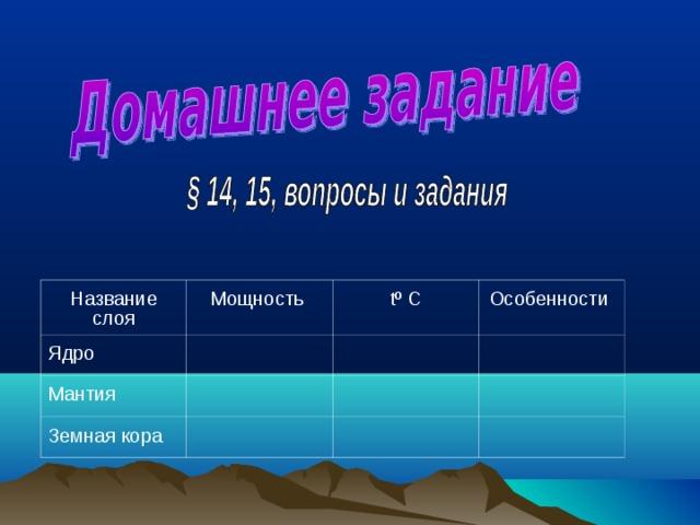 Название слоя Мощность Ядро tº  C Мантия Особенности Земная кора