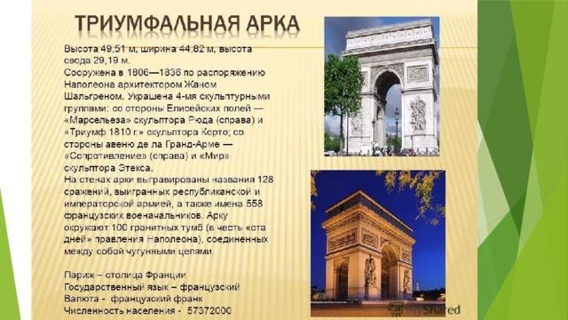 По указу Наполеона I, который хотел обессмертить славу своей армии, построены Триумфальные ворота в Париже. На стенах арки выгравированы имена генералов, сражавшихся вместе с императором.  Статуя