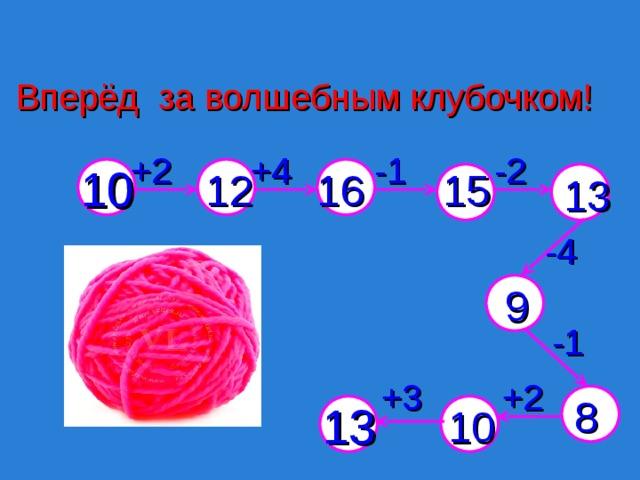Вперёд за волшебным клубочком! -2  -1  +4  +2  16 15 12 10 13 -4  9 -1  +2  +3  8 13 10