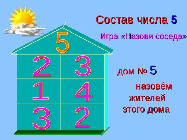 Состав числа 5 Игра «Назови соседа» дом № 5  назовём жителей этого дома