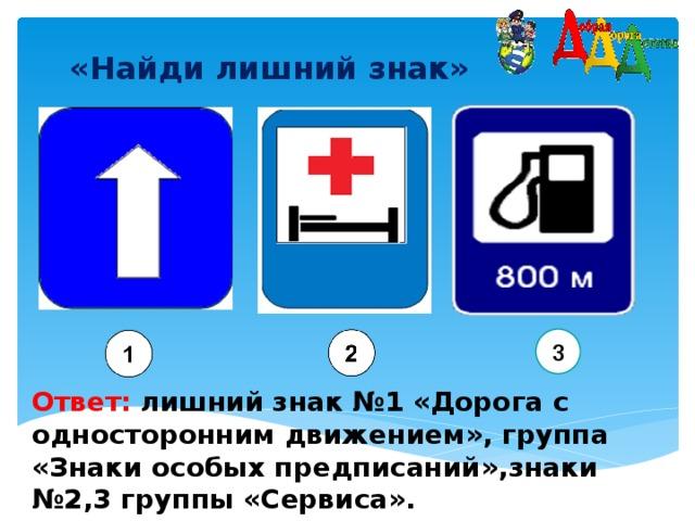 «Найди лишний знак»  3 Ответ:  лишний  знак №1 «Дорога с односторонним движением», группа «Знаки особых предписаний»,знаки №2,3 группы «Сервиса».