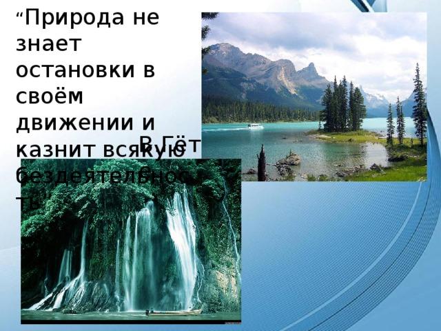 """"""" Природа не знает остановки в своём движении и казнит всякую бездеятельность"""" В.Гёте"""