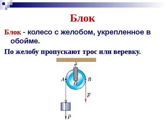 Блок Блок колесо с желобом, укрепленное в обойме.  По желобу пропускают трос или веревку.
