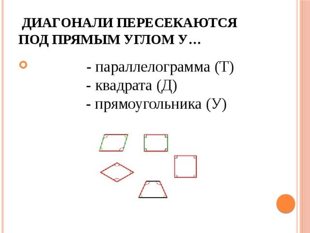 Диагонали пересекаются под прямым углом у…