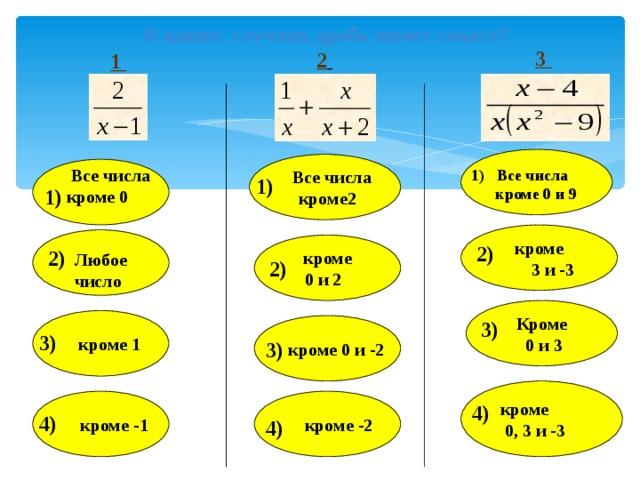 В каких случаях дробь имеет смысл? 3 2  1    Все числа  кроме2  Все числа кроме 0 1) Все числа  кроме 0 и 9 1) 1) кроме  3 и -3   кроме 0 и 2  2) 2) Любое число 2)  Кроме  0 и 3  кроме 1 3)   кроме 0 и -2  3) 3)  кроме  0, 3 и -3  кроме -2  кроме -1 4) 4) 4)