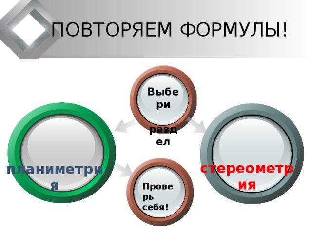 ПОВТОРЯЕМ ФОРМУЛЫ! Выбери  раздел   стереометрия  планиметрия Проверь себя!