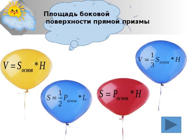 Площадь боковой  поверхности прямой призмы