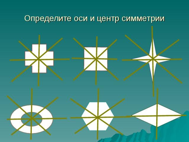 Определите оси и центр симметрии