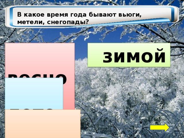 В какое время года бывают вьюги, метели, снегопады?  зимой  весной  летом  осенью