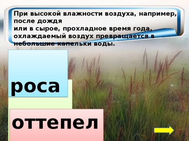 При высокой влажности воздуха, например, после дождя или в сырое, прохладное время года, охлаждаемый воздух превращается в небольшие капельки воды.  роса  туман оттепель