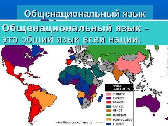 Общенациональный язык Общенациональный язык – это общий язык всей нации. Нелитературные типы речи Литературный язык состоит из  функциональных стилей Городское просторечие Книжные стили Разговорный  стиль Территориальные диалекты  (сельский говор) Научный стиль Социальные диалекты Публицистический стиль Арго Официально-деловой стиль Жаргон Сленг Литературно-художественный стиль Профессиональные диалекты