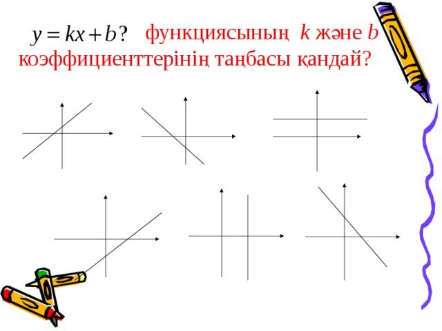 функциясының k және b коэффициенттерінің таңбасы қандай?