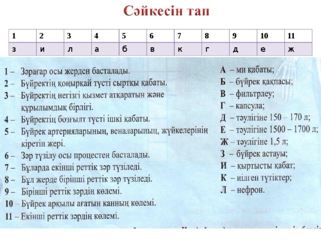 1 2 з и 3 4 л 5 а 6 б в 7 8 к г 9 д 10 е 11 ж