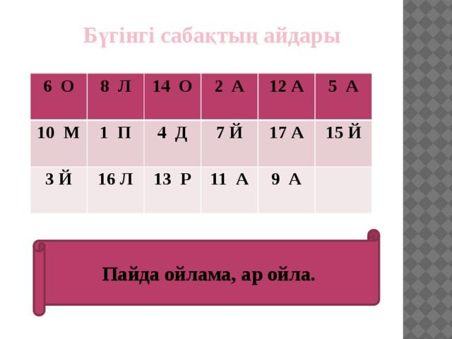 Бүгінгі сабақтың айдары 6 О  8 Л 10 М  1 П 14 О 3 Й 2 А 16 Л 4 Д 7 Й 12 А 13 Р 17 А 5 А 11 А 15 Й  9 А   Пайда ойлама, ар ойла.