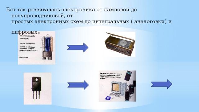 Вот так развивалась электроника от ламповой до полупроводниковой, от  простых электронных схем до интегральных ( аналоговых) и цифровых .