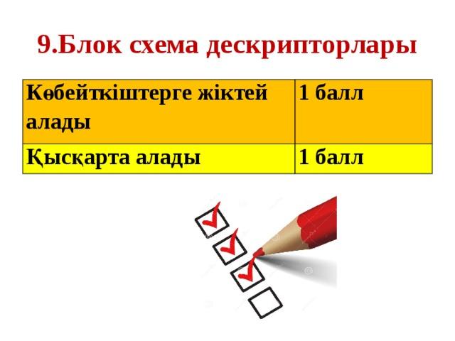 9.Блок схема дескрипторлары Көбейткіштерге жіктей алады 1 балл Қысқарта алады 1 балл
