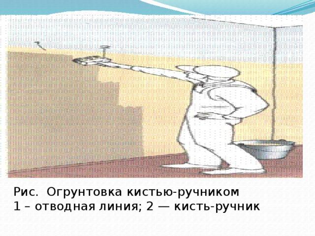 Рис. Огрунтовка кистью-ручником  1 – отводная линия; 2 — кисть-ручник