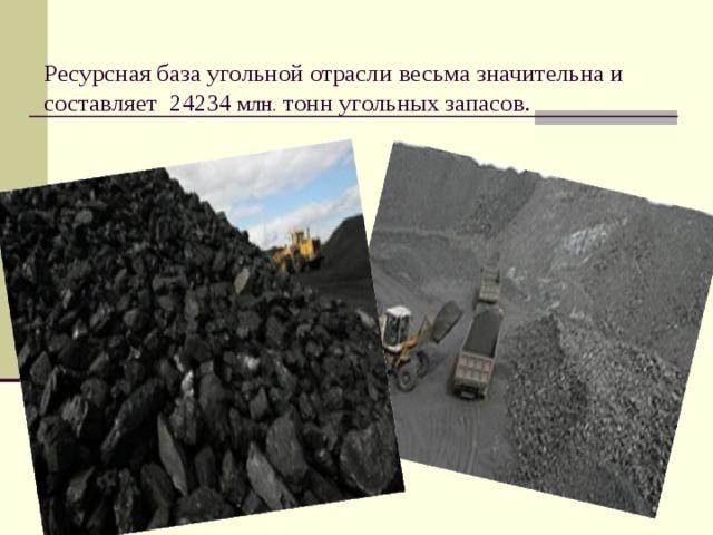 Ресурсная база угольной отрасли весьма значительна и составляет 24234 млн. тонн угольных запасов.