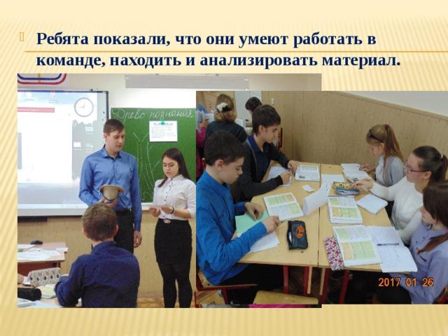 Ребята показали, что они умеют работать в команде, находить и анализировать материал.