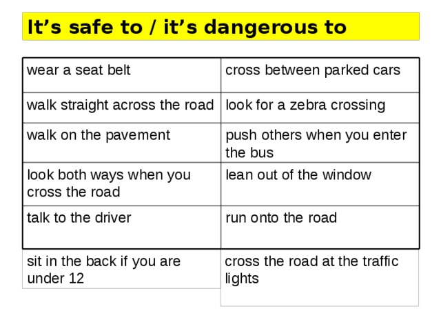 It's safe to / it's dangerous to cross between parked cars wear a seat belt look for a zebra crossing walk straight across the road push others when you enter the bus walk on the pavement lean out of the window look both ways when you cross the road talk to the driver run onto the road sit in the back if you are under 12 cross the road at the traffic lights