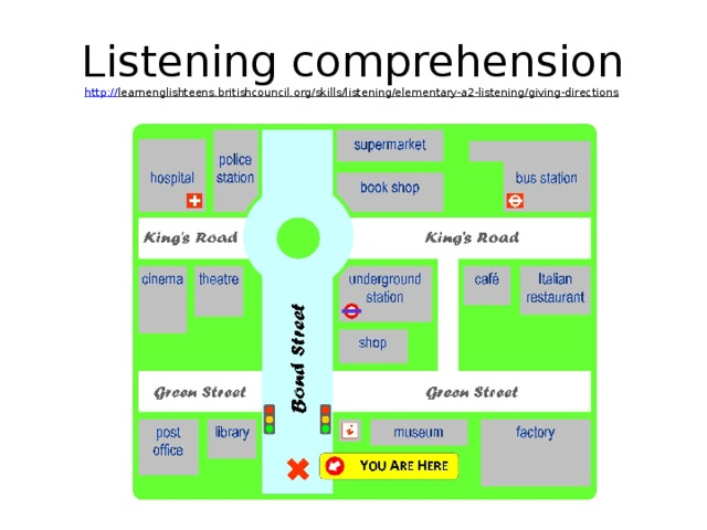 Listening comprehension  http :// learnenglishteens.britishcouncil.org/skills/listening/elementary-a2-listening/giving-directions
