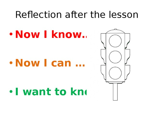 Reflection after the lesson Now I know…  Now I can …