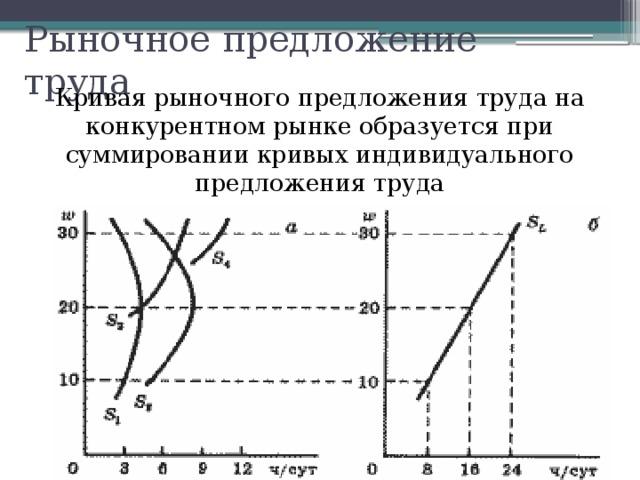 Рыночное предложение труда Кривая рыночного предложения труда на конкурентном рынке образуется при суммировании кривых индивидуального предложения труда
