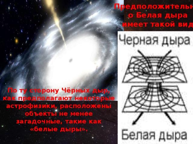 Предположительно Белая дыра имеет такой вид По ту сторону Чёрных дыр, как предполагают некоторые астрофизики, расположены объекты не менее загадочные, такие как «белые дыры».