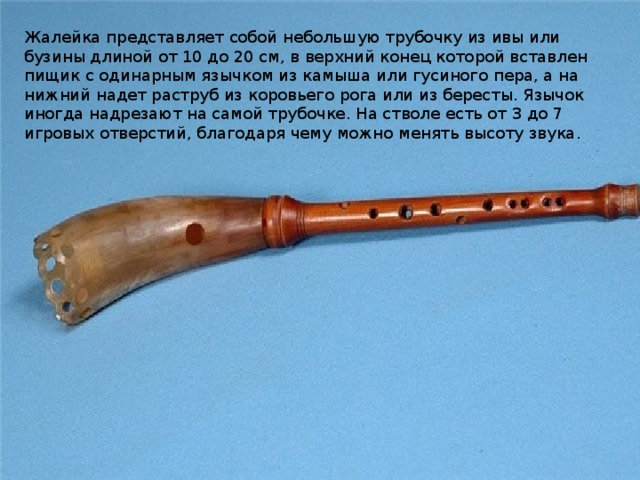 Жалейка представляет собой небольшую трубочку из ивы или бузины длиной от 10 до 20 см, в верхний конец которой вставлен пищик с одинарным язычком из камыша или гусиного пера, а на нижний надет раструб из коровьего рога или из бересты. Язычок иногда надрезают на самой трубочке. На стволе есть от 3 до 7 игровых отверстий, благодаря чему можно менять высоту звука.