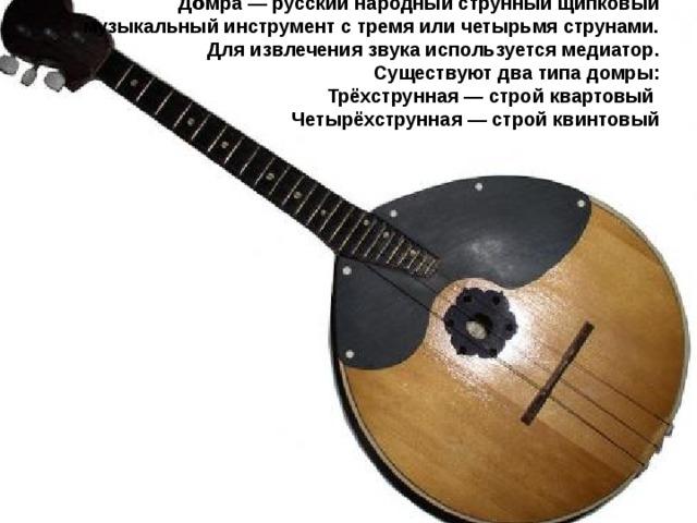 До́мра— русский  народный струнный щипковый музыкальный инструмент с тремя или четырьмя струнами. Для извлечения звука используется медиатор. Существуют два типа домры: Трёхструнная— строй квартовый Четырёхструнная— строй квинтовый