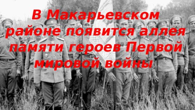 В Макарьевском районе появится аллея памяти героев Первой мировой войны