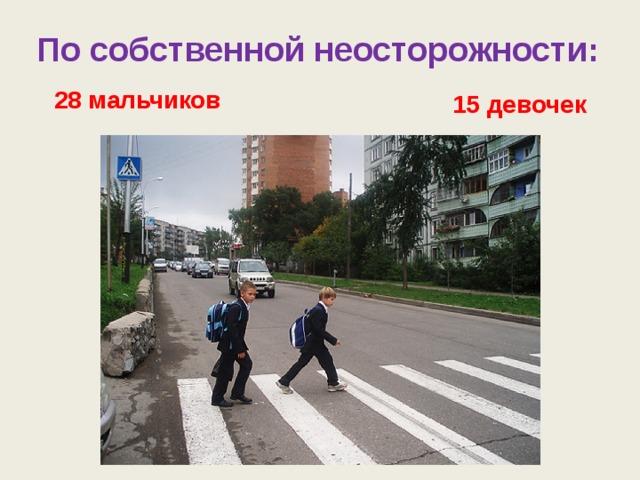 По собственной неосторожности: 28 мальчиков 15 девочек