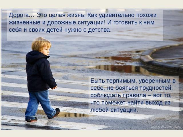 Дорога… Это целая жизнь. Как удивительно похожи жизненные и дорожные ситуации! И готовить к ним себя и своих детей нужно с детства. Быть терпимым, уверенным в себе, не бояться трудностей, соблюдать правила – вот то, что поможет найти выход из любой ситуации.