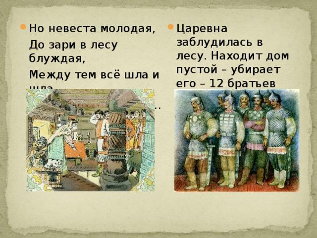 Но невеста молодая, Царевна заблудилась в лесу. Находит дом пустой – убирает его – 12 братьев приезжают.