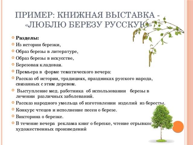 Пример: книжная выставка - «Люблю березу русскую»
