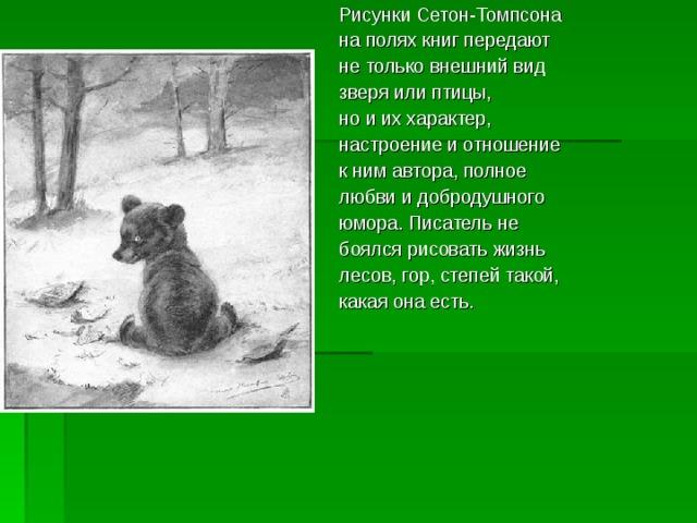 Рисунки Сетон-Томпсона на полях книг передают не только внешний вид зверя или птицы, но и их характер, настроение и отношение к ним автора, полное любви и добродушного юмора. Писатель не боялся рисовать жизнь лесов, гор, степей такой, какая она есть.