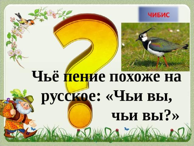 Чьё пение похоже на русское: «Чьи вы,      чьи вы?»