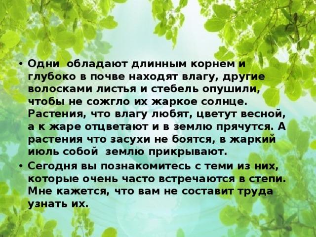 Одни обладают длинным корнем и глубоко в почве находят влагу, другие волосками листья и стебель опушили, чтобы не сожгло их жаркое солнце. Растения, что влагу любят, цветут весной, а к жаре отцветают и в землю прячутся. А растения что засухи не боятся, в жаркий июль собой землю прикрывают. Сегодня вы познакомитесь с теми из них, которые очень часто встречаются в степи. Мне кажется, что вам не составит труда узнать их.