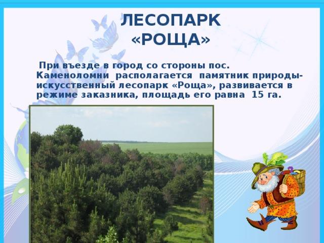 ЛЕСОПАРК  «РОЩА»    При въезде в город со стороны пос. Каменоломни располагается памятник природы- искусственный лесопарк «Роща», развивается в режиме заказника, площадь его равна 15 га.