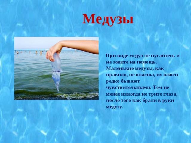 Медузы   При виде медуз не пугайтесь и не зовите на помощь. Маленькие медузы, как правило, не опасны, их ожоги редко бывают чувствительными. Тем не менее никогда не трите глаза, после того как брали в руки медузу.