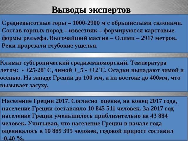 Выводы экспертов Средневысотные горы – 1000-2900 м с обрывистыми склонами. Состав горных пород – известняк – формируются карстовые формы рельефа. Высочайший массив – Олимп – 2917 метров. Реки прорезали глубокие ущелья . Климат субтропический средиземноморский. Температура летом: - +25-28˚ С, зимой +_5 - +12˚С. Осадки выпадают зимой и осенью. На западе Греции до 100 мм, а на востоке до 400мм, что вызывает засуху. Население Греции 2017. Согласно оценке, на конец 2017 года, население Греции составляло 10 845 511 человек. За 2017 год население Греции уменьшилось приблизительно на 43 884 человек. Учитывая, что население Греции в начале года оценивалось в 10 889 395 человек, годовой прирост составил -0.40 %.