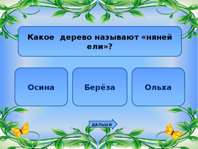 Какое дерево называют «няней ели»? Осина Берёза Ольха дальше